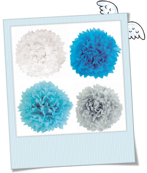 große Pompoms blau, türkis, weiß, taupe