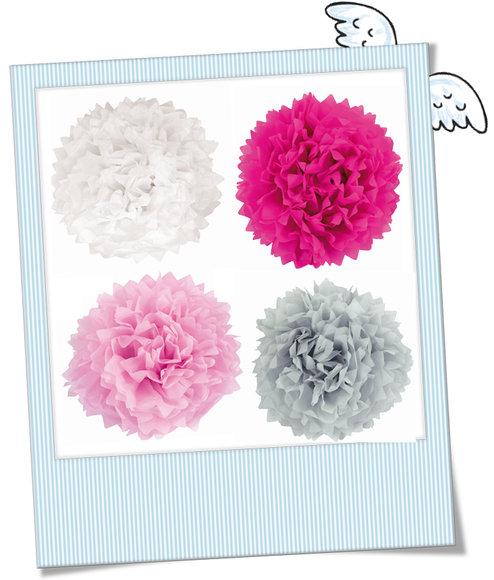 große Pompoms pink weiß rosa beige